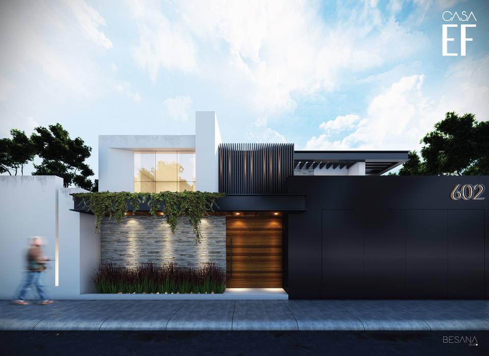 Propuesta de fachada exterior 1: Casas de estilo  por Besana Studio, Minimalista