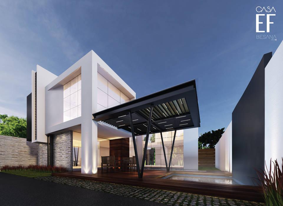 Fachada trasera: Casas de estilo  por Besana Studio, Minimalista