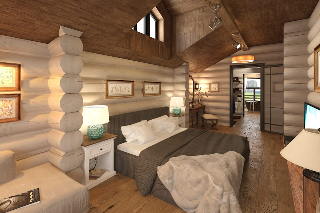 Bedroom by atmosvera, Rustic Wood Wood effect