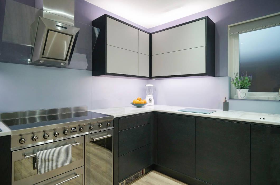 Monochrome Open Grain Cabinets: modern Kitchen by ADORNAS KITCHENS