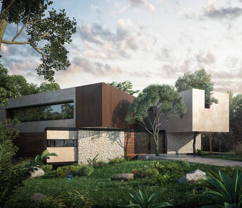 fachada frontal CARCO Arquitectura y Construccion Casas modernas Madera maciza Beige