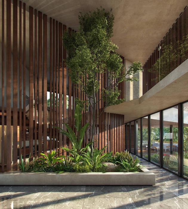 vestíbulo de acceso CARCO Arquitectura y Construccion Pasillos, vestíbulos y escaleras modernos Madera maciza Beige
