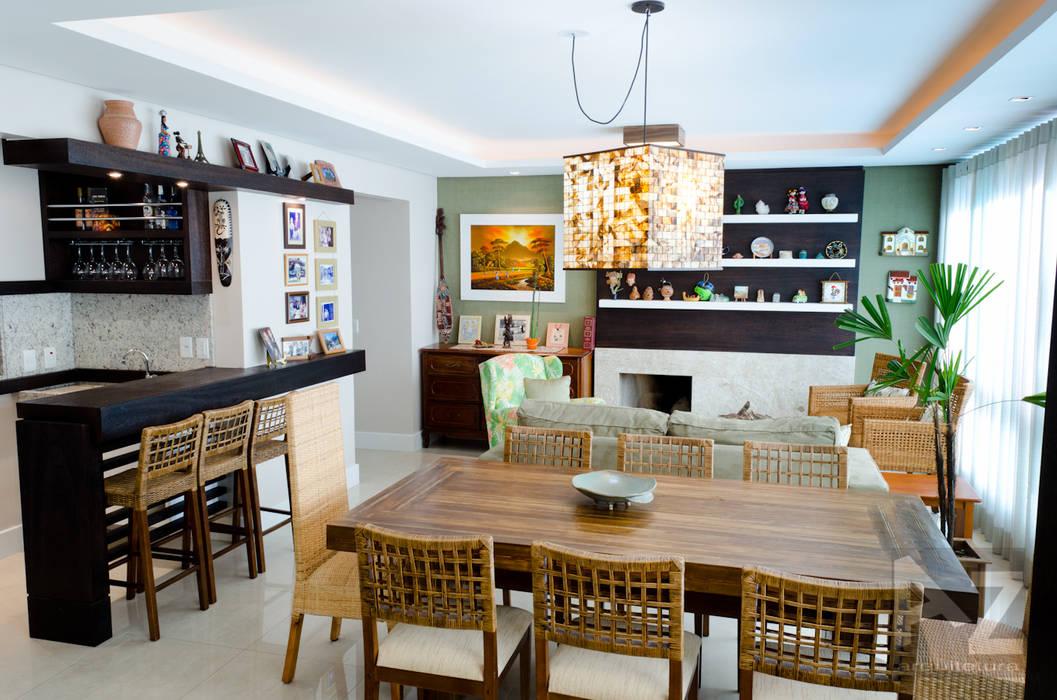 Apartamento Jari I AZ Arquitetura Salas de jantar tropicais