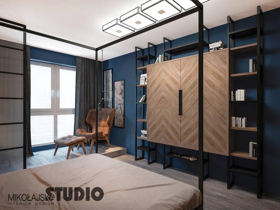 Niebieska Sypialnia Styl W Kategorii Sypialnia Zaprojektowany