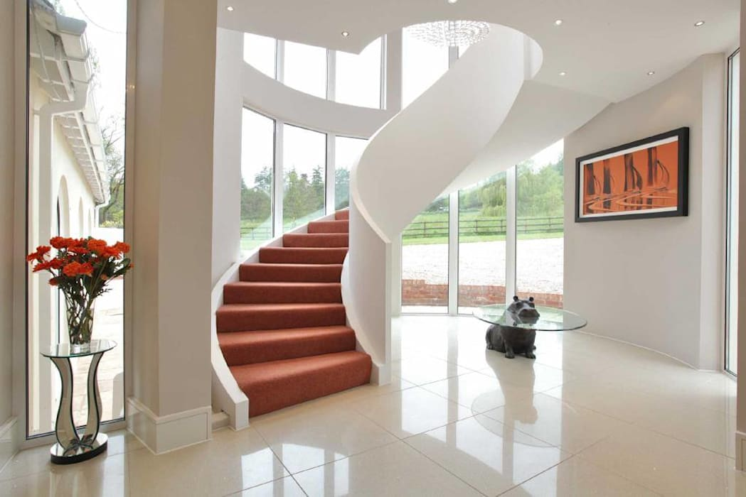 Draethen Farm House Conversion Modern corridor, hallway & stairs by Smarta Modern