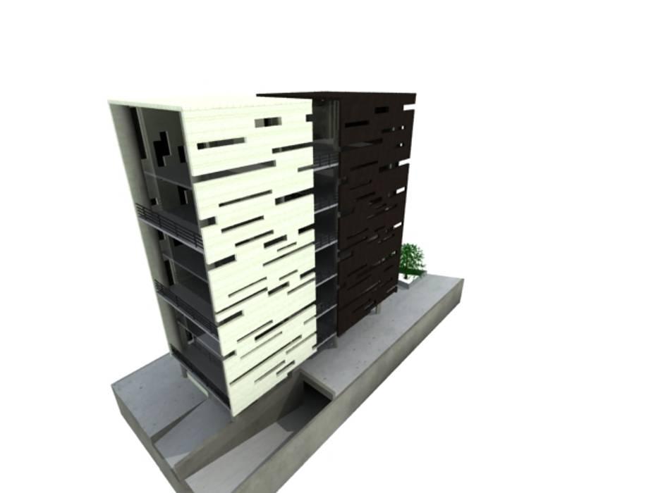L _ 24 - Sur _ Apartamentos LoftsL _ 24 - Sur _ Apartamentos Lofts: Casas de estilo  por @tresarquitectos,