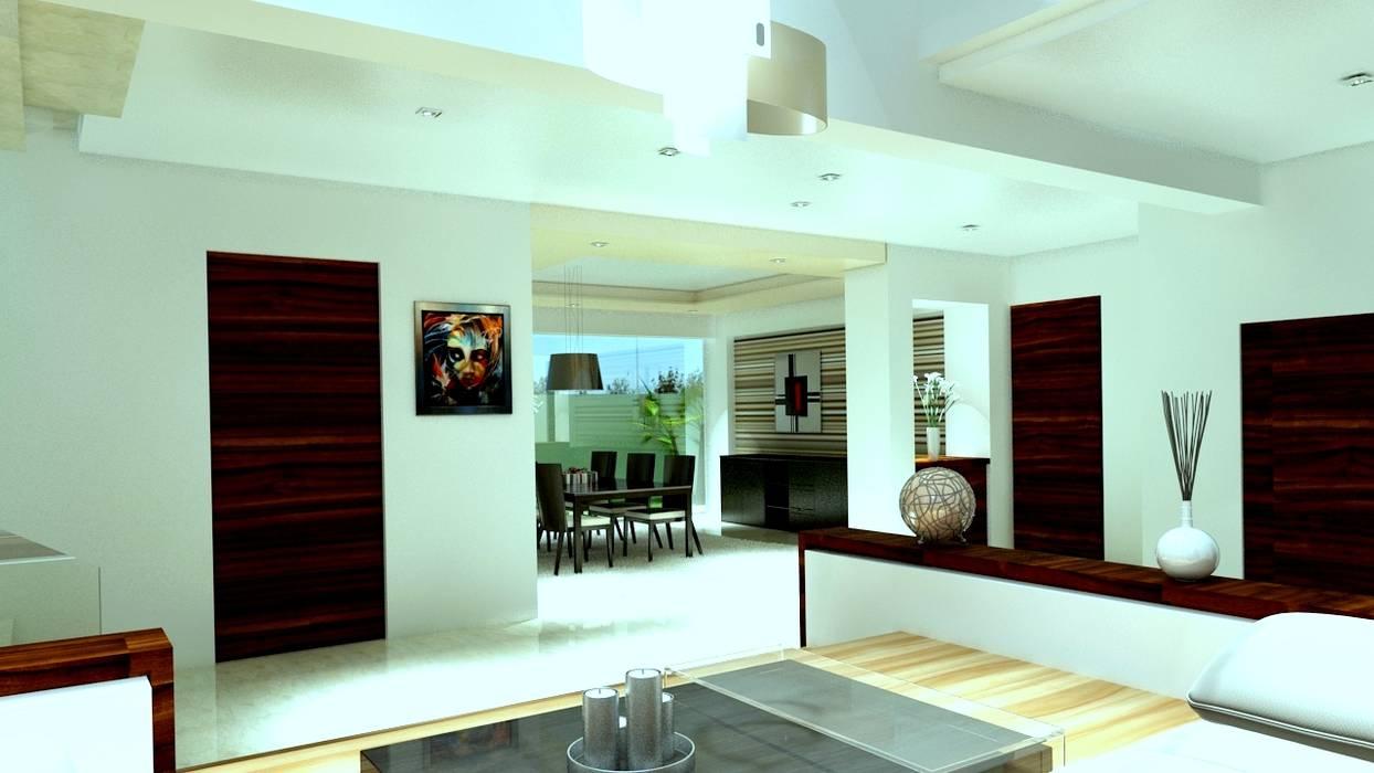 现代客厅設計點子、靈感 & 圖片 根據 CouturierStudio 現代風