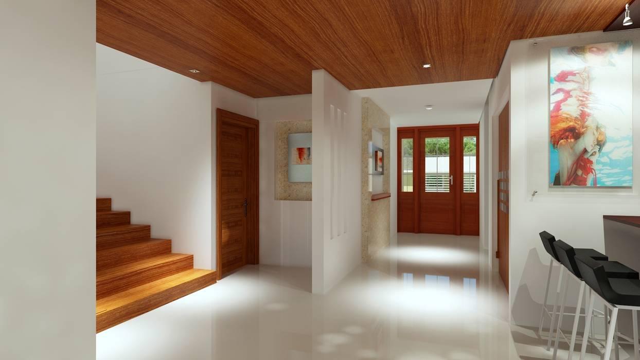 現代風玄關、走廊與階梯 根據 CouturierStudio 現代風