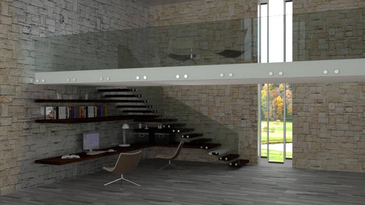studio e sottoscala : Studio in stile in stile Moderno di virtual3dproject