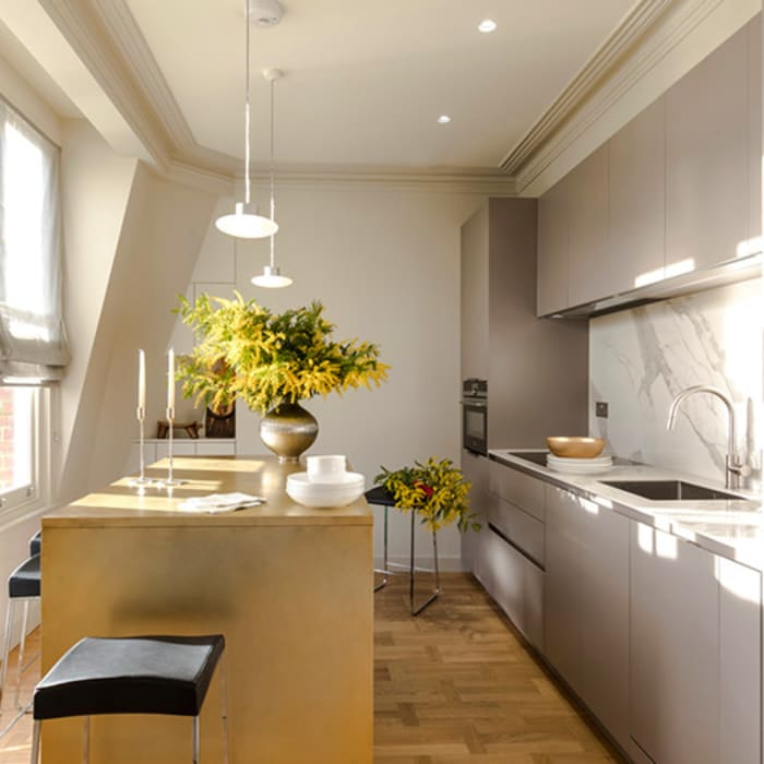View of kitchen area including island: modern Kitchen by Studio 29 Architects ltd