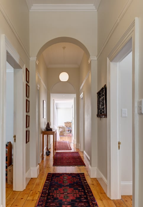 Muse Architects Eclectic style corridor, hallway & stairs