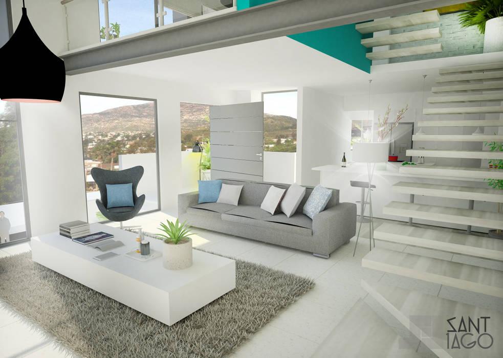 Doble Altura: Salas de estilo minimalista por SANT1AGO arquitectura y diseño