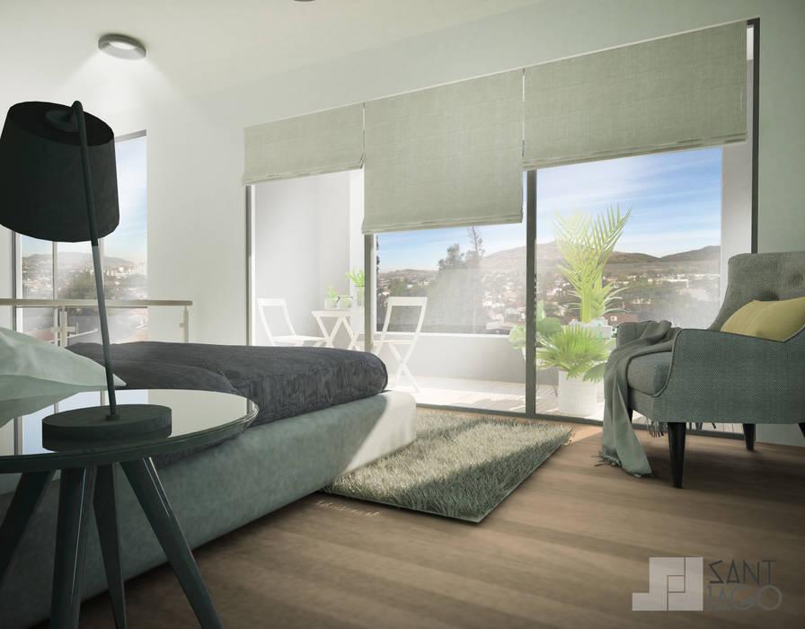 Recamara Principal: Recámaras de estilo minimalista por SANT1AGO arquitectura y diseño