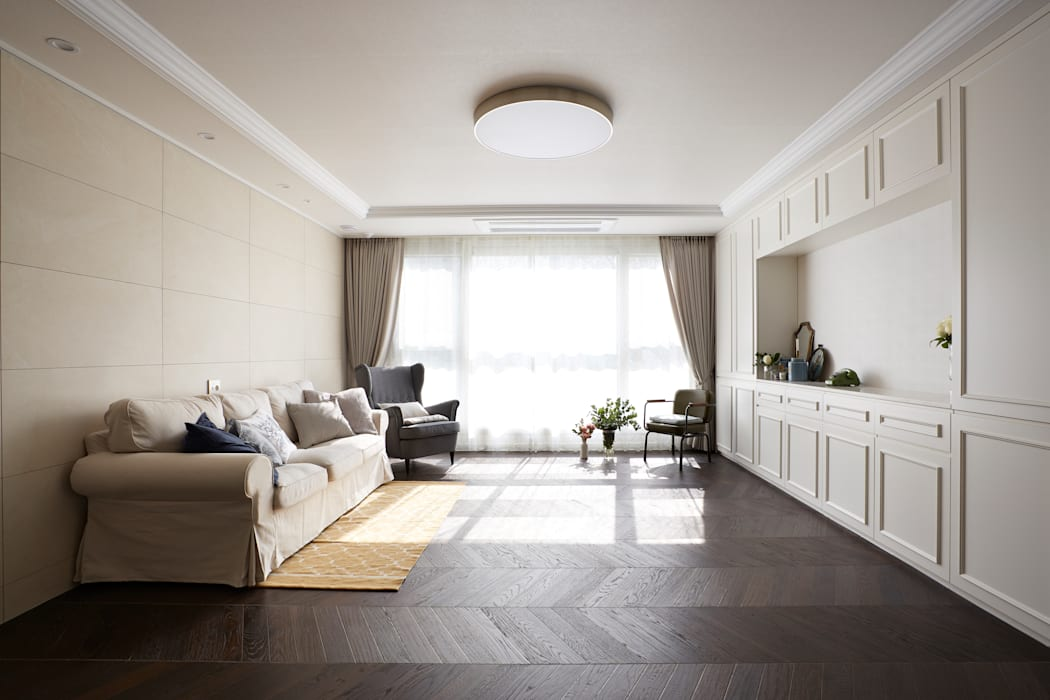 Modern living room by CASA GREIGE(까사그레이지) Modern