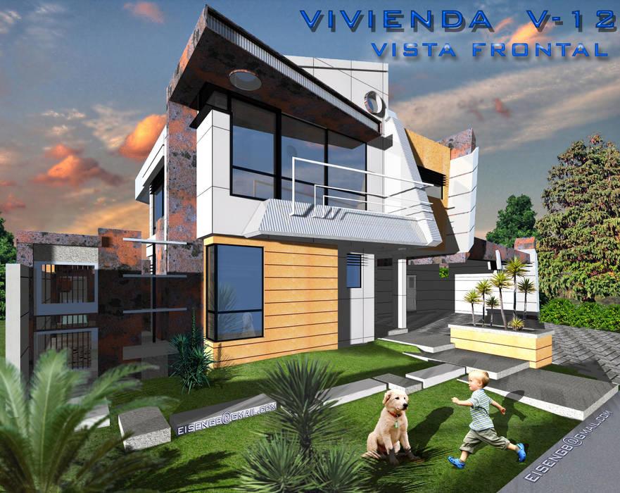Vista Frontal sur/este. Vivienda V12. Casas de estilo escandinavo de Eisen Arquitecto Escandinavo Concreto