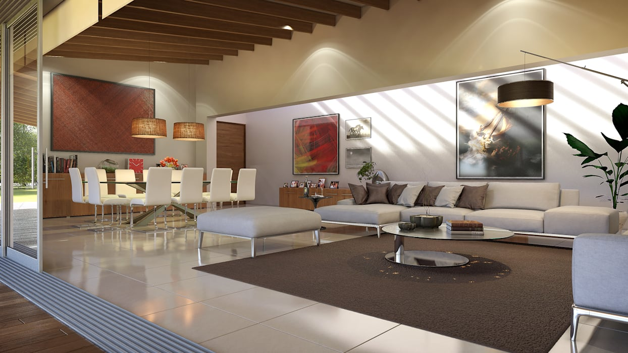 Residencia BGRR Salones modernos de Estudio Colectivo de Arquietctura Moderno