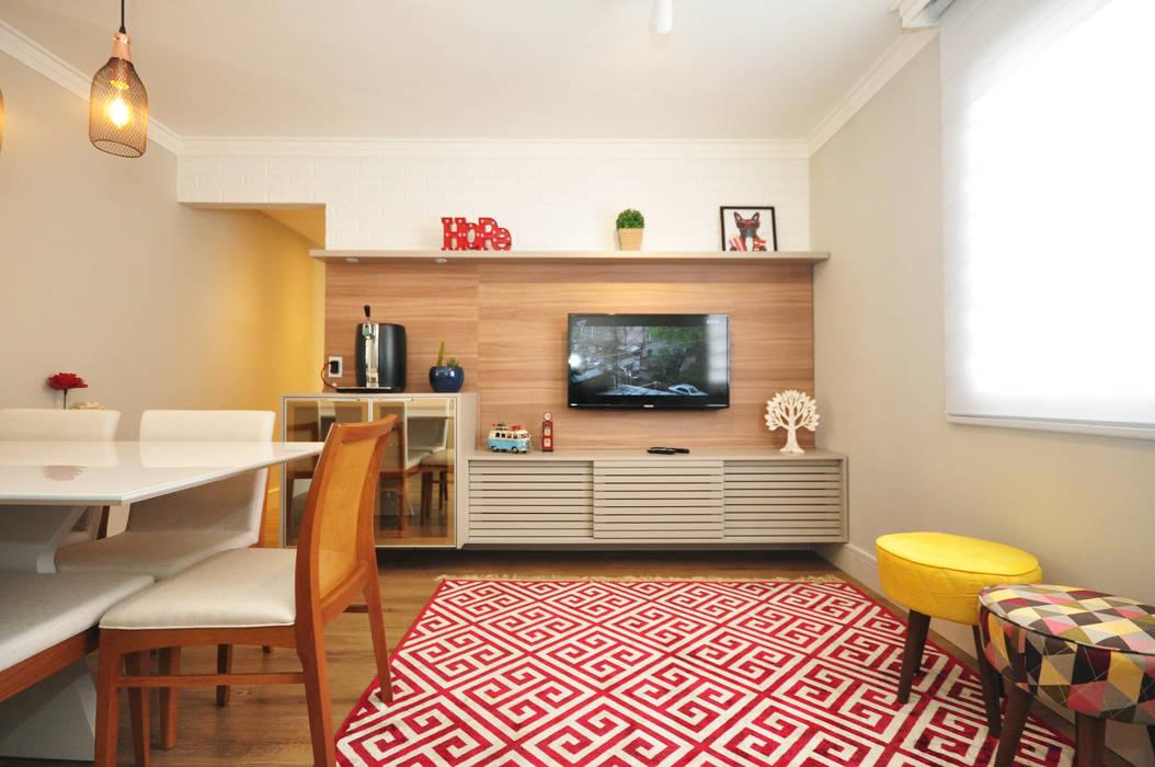 Apartamento Vila Mariana Condecorar Arquitetura e Interiores Salas de estar ecléticas