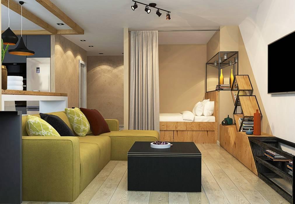 1к.кв. в ЖК Лазурная Симфония (50 кв.м): Гостиная в . Автор – ДизайнМастер