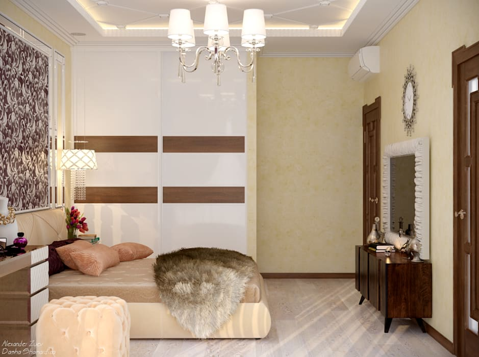 Дизайн спальни в стиле ар-деко в доме в пос. Старобжегокай, г.Краснодар: Спальни в . Автор – Студия интерьерного дизайна happy.design