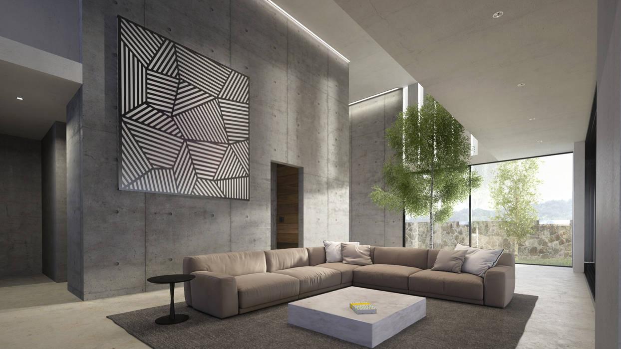 HAC Arquitectura Modern living room Concrete