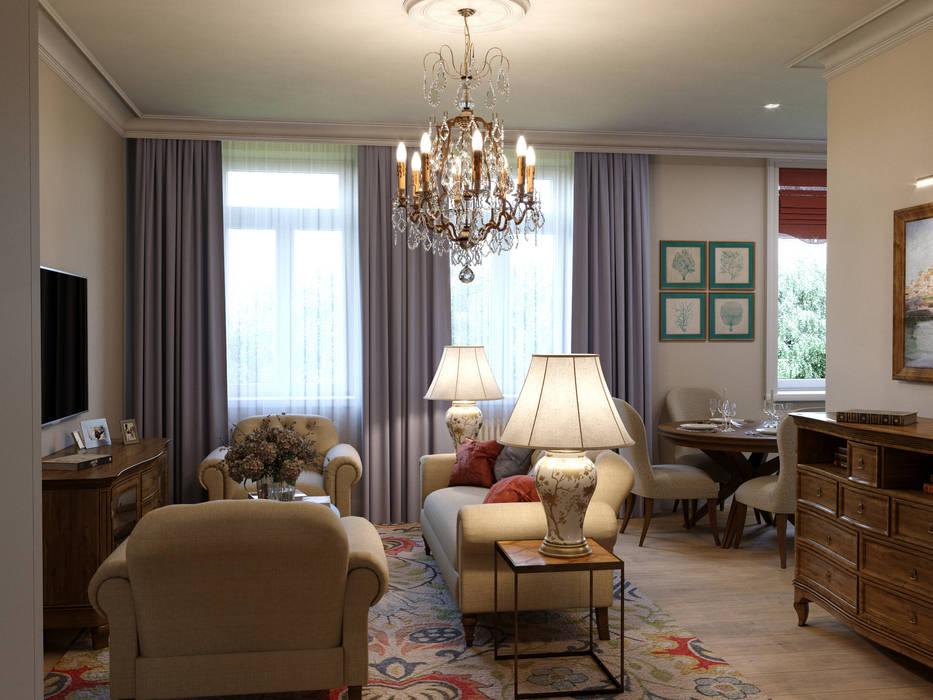 Дизайн-проект квартиры для женщины: Гостиная в . Автор – Антон Булеков
