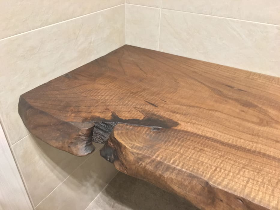 Dettagli piano in legno massello per bagno Bruno Spreafico BagnoRipiani Legno massello Marrone