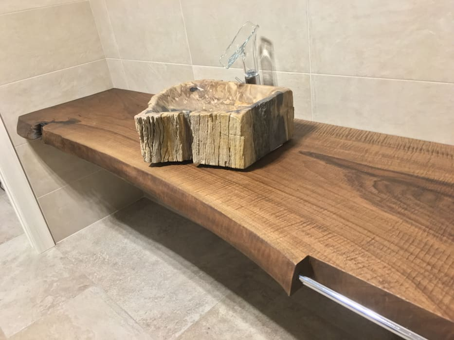 Top per bagno in legno massello (noce nazionale): bagno in stile di ...