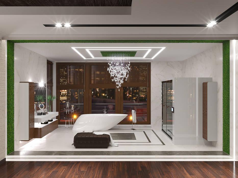 Дизайн-проект интерьера ванной комнаты: Ванные комнаты в . Автор – ИнтеРИВ, Модерн