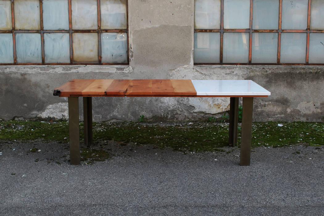 Tavolo in legno e marmo di carrara sala da pranzo in stile di