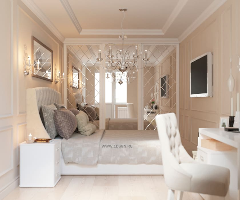 Дизайн проект спальной комнаты г. Санкт-Петербург: Спальни в . Автор – Дизайн студия 'Дизайнер интерьера № 1'