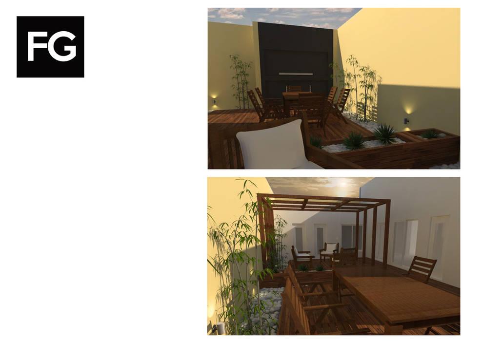 DISEÑO EXTERIOR JC: Jardines de invierno de estilo  por FG ARQUITECTURA E INTERIORISMO
