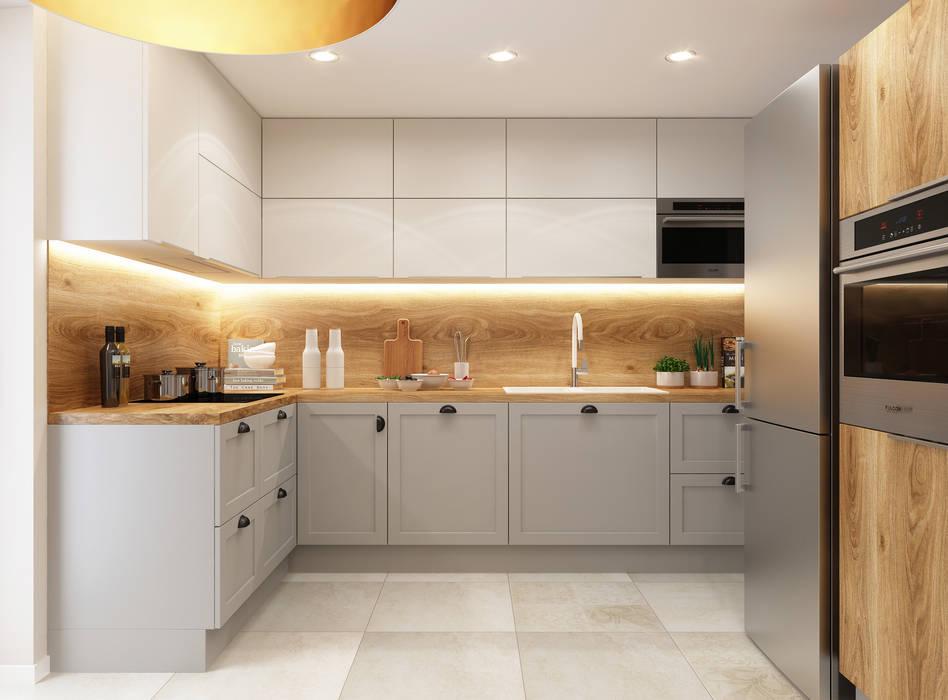 Nowoczesna kuchnia z drewnianymi akcentami: styl , w kategorii Kuchnia zaprojektowany przez APP Proste Wnętrze Maria Podobińska-Tuleja