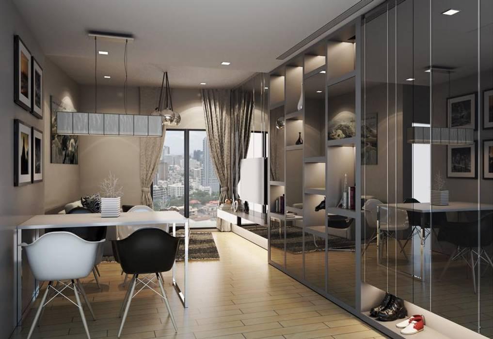 LPN 24  condominium interior: ทันสมัย  โดย Glam interior- architect co.,ltd, โมเดิร์น กระจกและแก้ว
