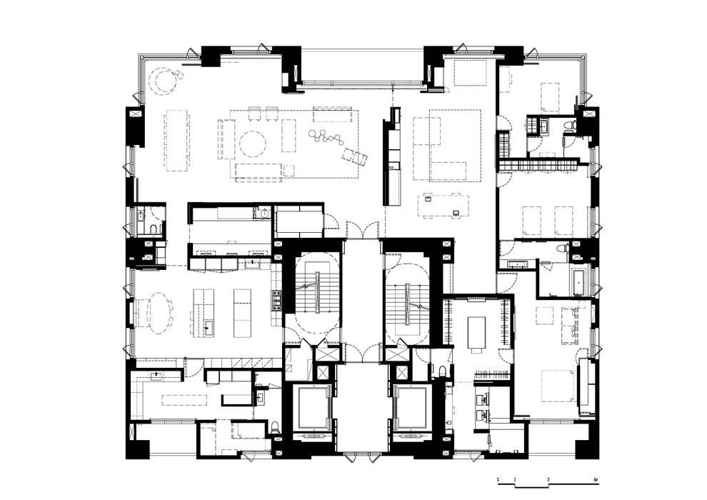 Paredes y pisos de estilo moderno de 何侯設計 Ho + Hou Studio Architects Moderno