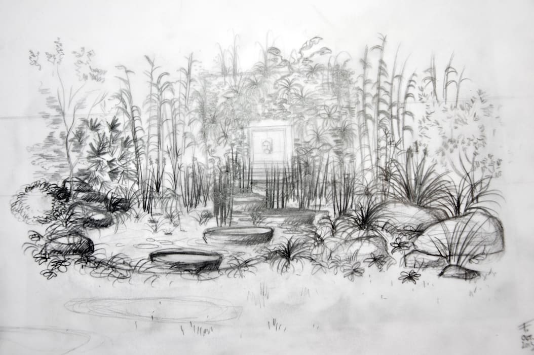 Jardin-bassin, Rueil-M.: Jardin de style  par F'CHASTA CRÉATIONS