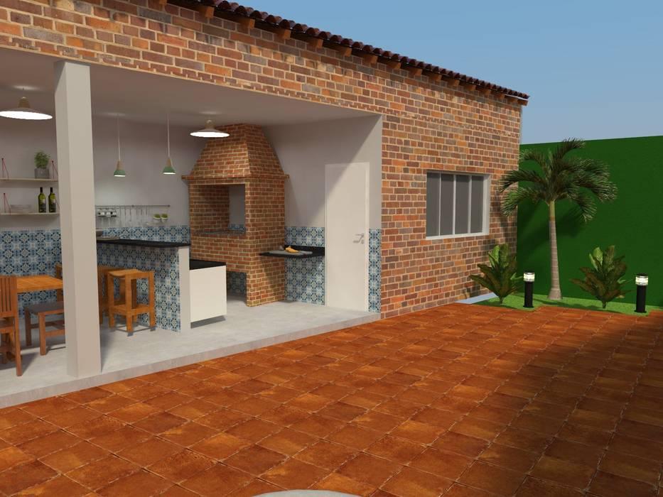 Área de Apoio: Garagens e edículas  por Atelie 3 Arquitetura,Campestre Tijolo