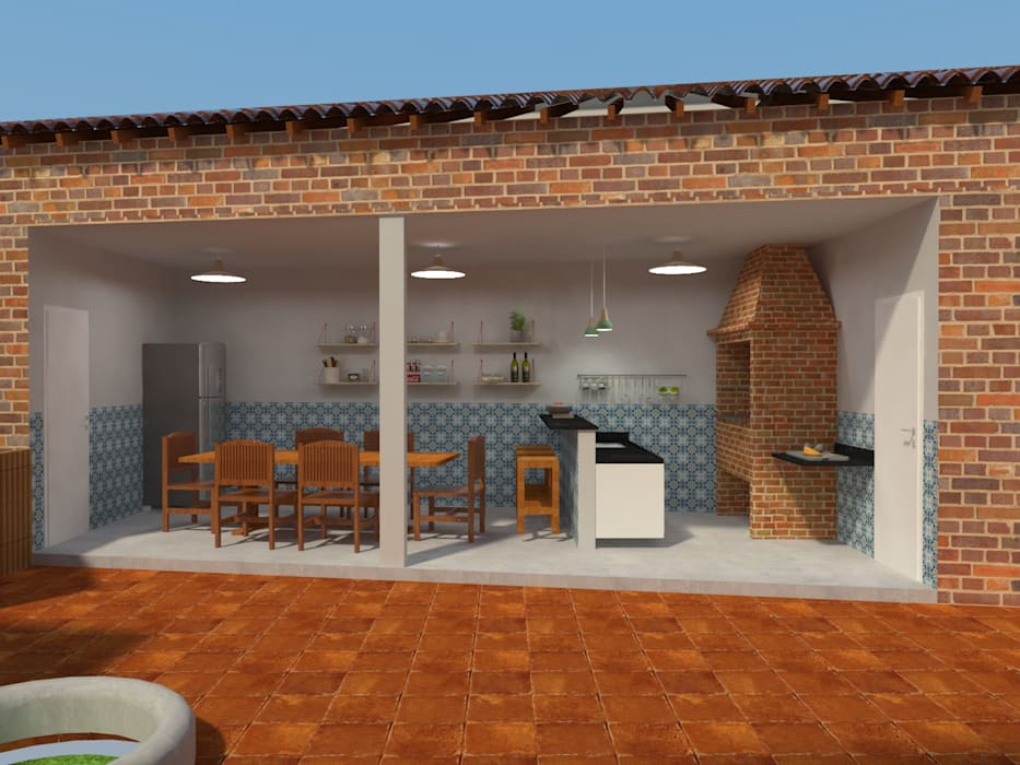 Área de Apoio Garagens e edículas campestres por Atelie 3 Arquitetura Campestre Tijolo