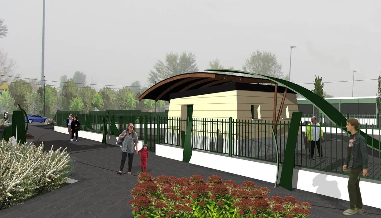 """""""Calderara"""" site: Giardino in stile in stile Industriale di Studio Associato di architettura MBiM"""