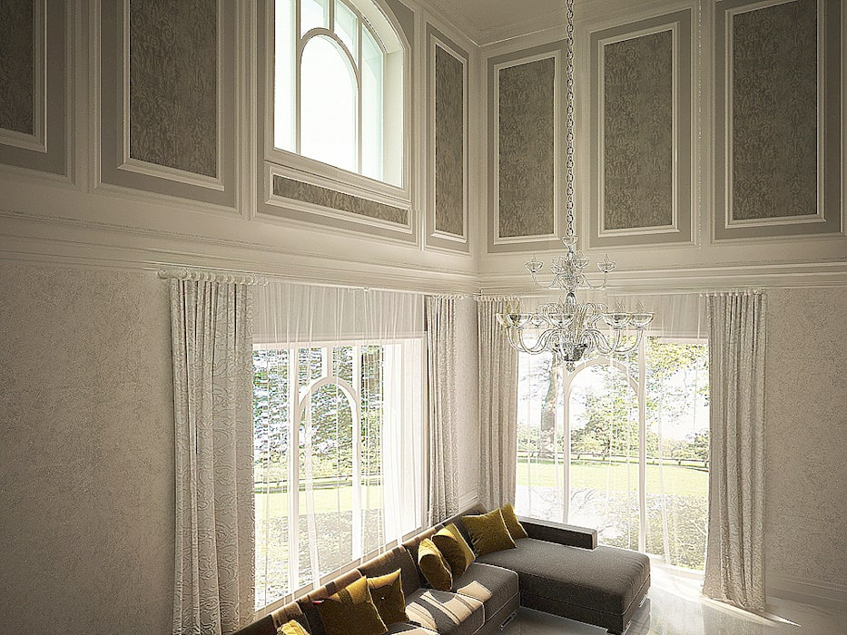 Декорирование стен: Гостиная в . Автор – anydesign