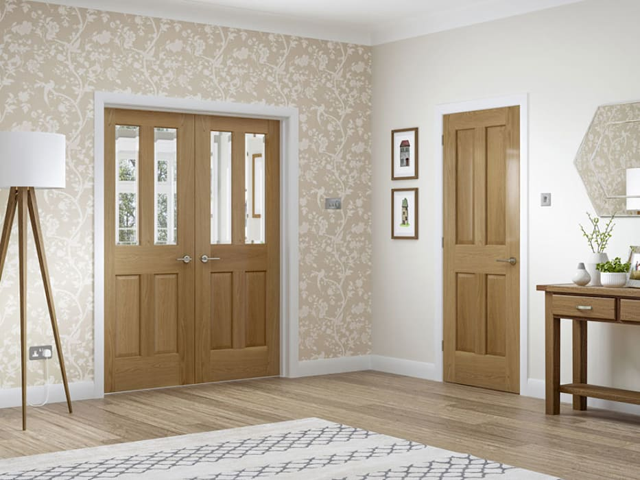 Colonial 4 Panel Oak Internal Door And Malton Oak Rebated Pair