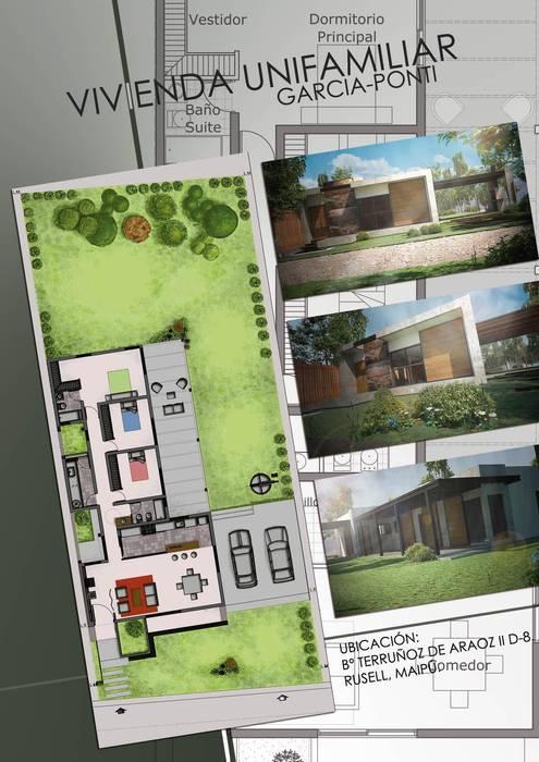 Vivienda Garcia-Ponti: Casas de estilo  por Hornero Arquitectura y Diseño,Moderno Ladrillos