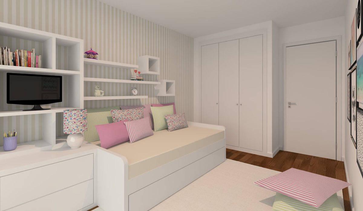 Projeto 3D - Apartamento Montijo Ana Andrade - Design de Interiores Quartos de criança modernos