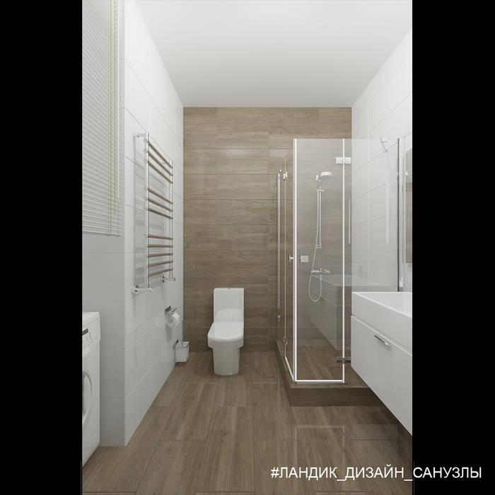 Сдержанный интерьер однокомнатной квартиры в современном стиле: Ванные комнаты в . Автор – LANDIK INTERIOR DESIGN,