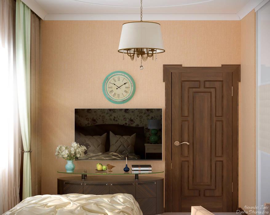 Дизайн спальни в доме в пос. Старобжегокай, г.Краснодар: Спальни в . Автор – Студия интерьерного дизайна happy.design
