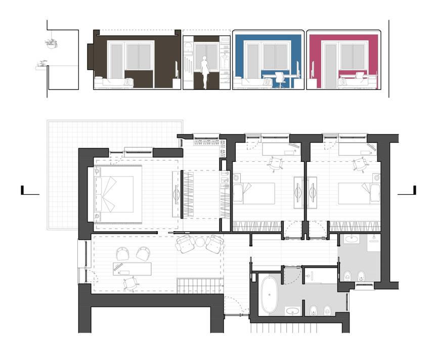 Planimetria livello 02 con prove colore camere da letto: in stile di ...