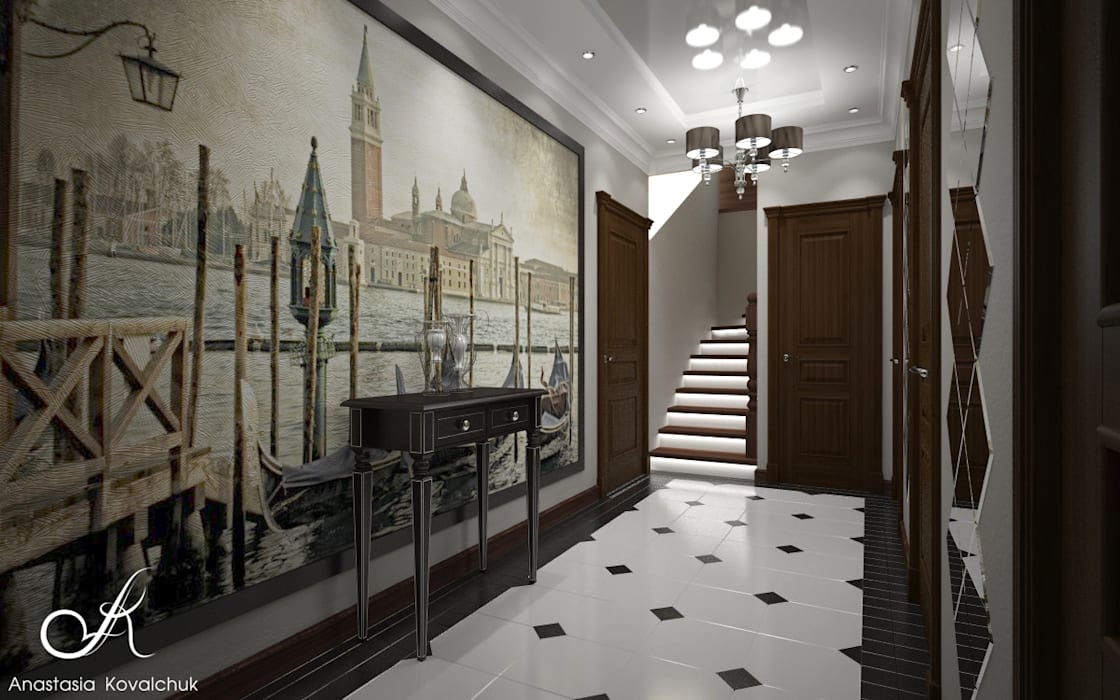 Townhouse in style of an art deco corridor hallway by design