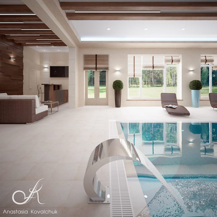 Villa with the pool:  Pool by Design studio by Anastasia Kovalchuk, Modern