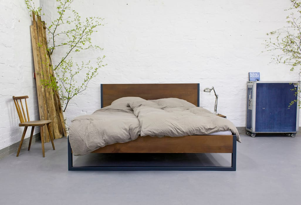 Loft Vintage Industrial Bett Massivholz Und Stahl Schlafzimmer