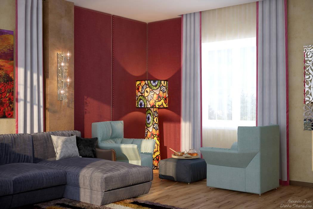 Дизайн гостиной (2 этаж) в доме в пос. Старобжегокай, г.Краснодар: Гостиная в . Автор – Студия интерьерного дизайна happy.design