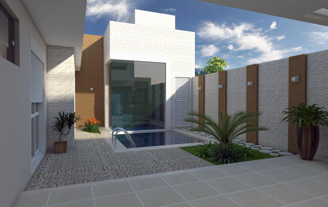Projeto arquitetura moderna telhado embutido fachada reta for Casa moderna 8x20